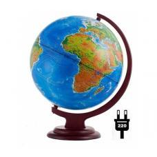 Глобус с политической картой с подсветкой на деревянной подставке 10097