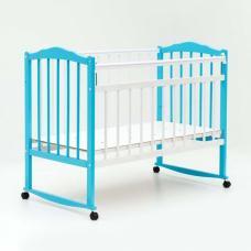 Купить в Минске Кроватка детская Bambini колесо+качалка (Бело-голубая) Кроватка детская Bambini колесо+качалка (Бело-голубая)