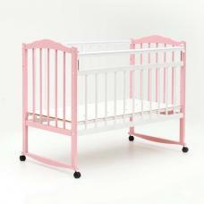 Купить в Минске Кроватка детская Bambini колесо+качалка (Бело-розовая) Кроватка детская Bambini колесо+качалка (Бело-розовая)
