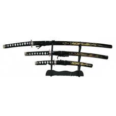 Купить в Минске Набор самурайских мечей: Катана, Вакидзаси и Танто на подставке 102 см Набор самурайских мечей: Катана, Вакидзаси и Танто на подставке 102 см