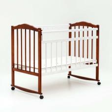 Купить в Минске Кроватка детская Bambini колесо+качалка (Белый орех) Кроватка детская Bambini колесо+качалка (Белый орех)