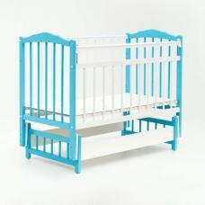 Купить в Минске Кровать детская Bambini с Маятником (Бело-голубой) Кровать детская Bambini с Маятником (Бело-голубой)