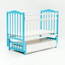 Купить в Минске Кроватка детская Bambini маятник с ящиком (Бело-голубой) Кроватка детская Bambini маятник с ящиком (Бело-голубой)